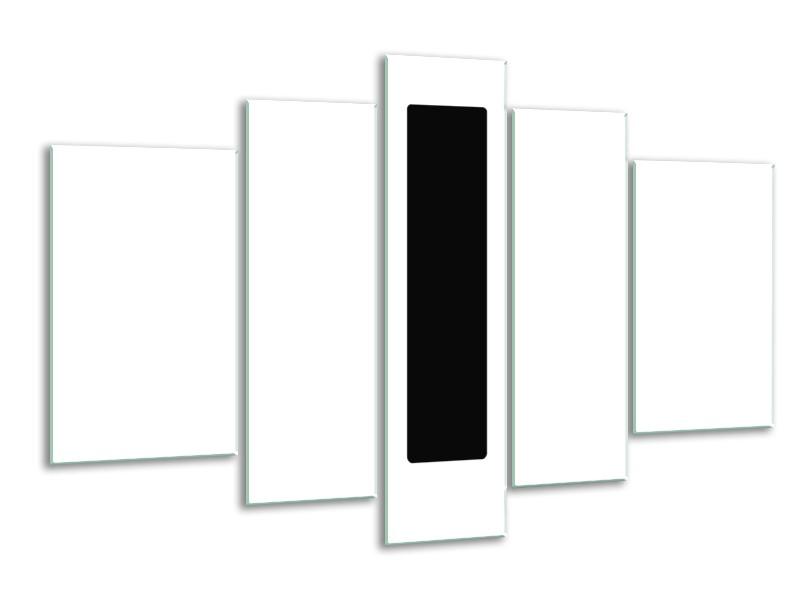 Glasschilderij Abstract   Wit, Zwart   170x100cm 5Luik
