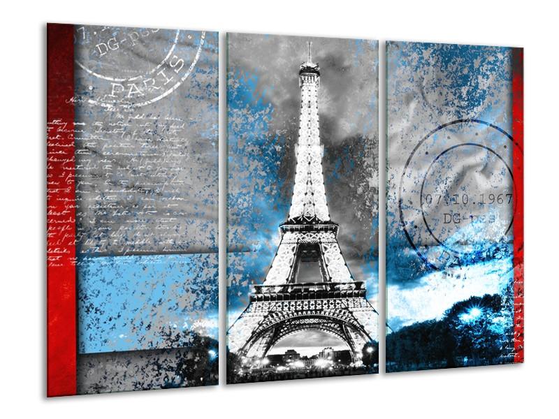 Canvas Schilderij Parijs, Eiffeltoren   Grijs, Blauw, Zwart   120x80cm 3Luik