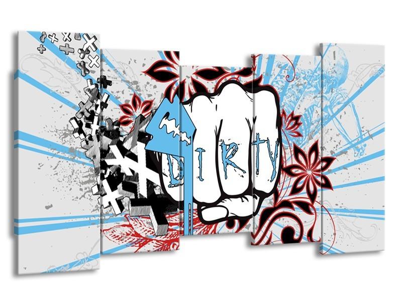 Canvas Schilderij Popart | Grijs, Blauw, Rood | 150x80cm 5Luik