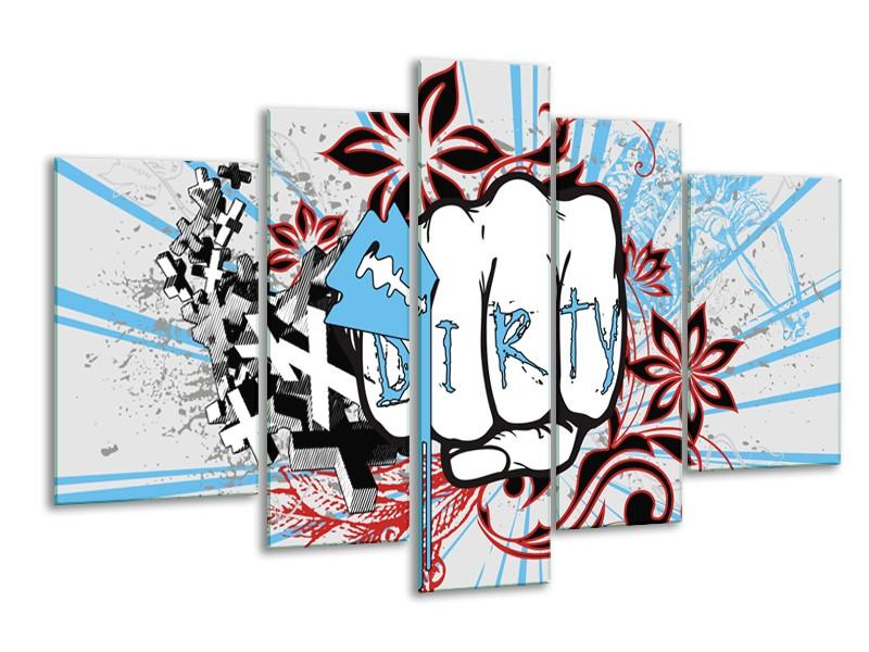 Canvas Schilderij Popart | Grijs, Blauw, Rood | 170x100cm 5Luik