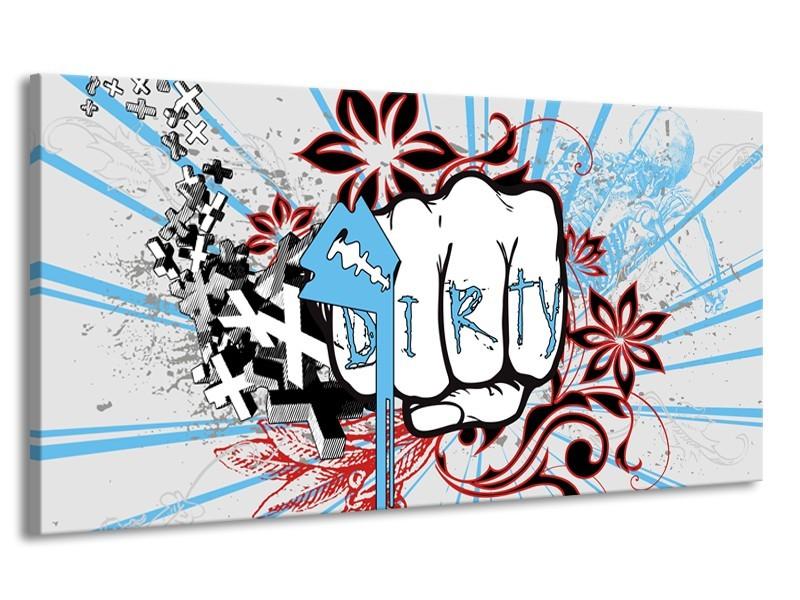 Canvas Schilderij Popart | Grijs, Blauw, Rood | 170x90cm 1Luik