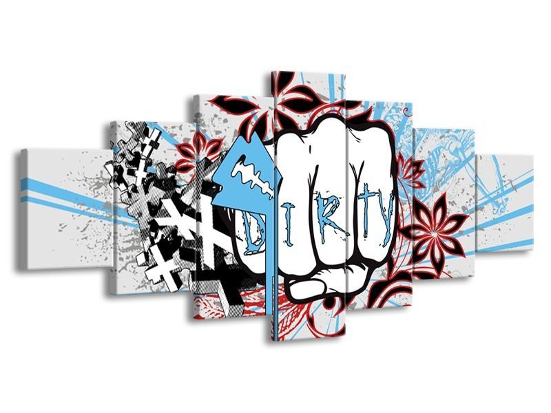 Canvas Schilderij Popart | Grijs, Blauw, Rood | 210x100cm 7Luik
