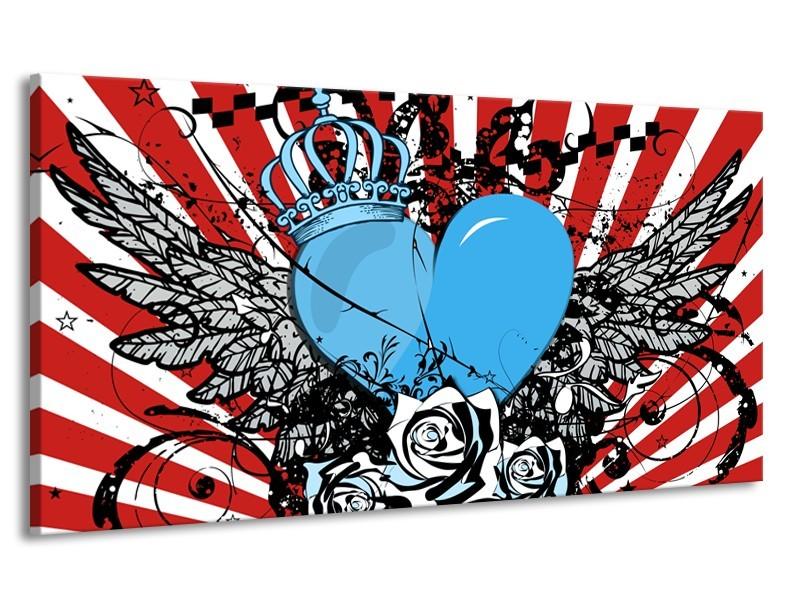 Canvas Schilderij Popart, Hart | Blauw, Rood, Zwart | 170x90cm 1Luik
