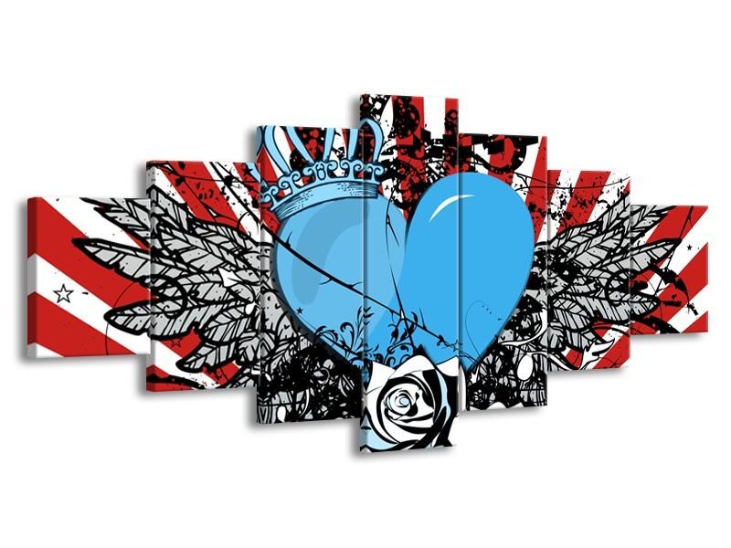 Canvas Schilderij Popart, Hart | Blauw, Rood, Zwart | 210x100cm 7Luik