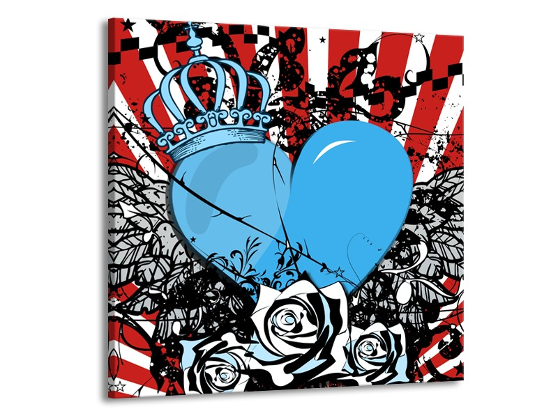 Canvas Schilderij Popart, Hart | Blauw, Rood, Zwart | 70x70cm 1Luik