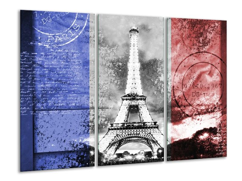 Canvas Schilderij Parijs, Eiffeltoren   Grijs, Rood, Blauw   120x80cm 3Luik