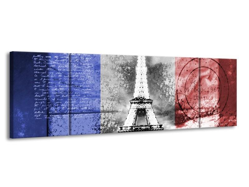 Canvas Schilderij Parijs, Eiffeltoren   Grijs, Rood, Blauw   170x50cm 3Luik