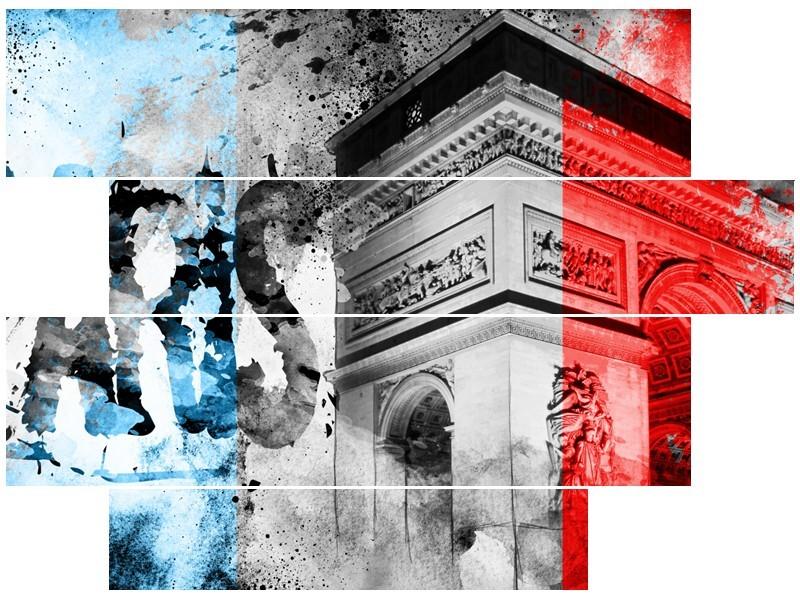 Canvas Schilderij Parijs, Steden   Blauw, Rood, Grijs   115x85cm 4Luik