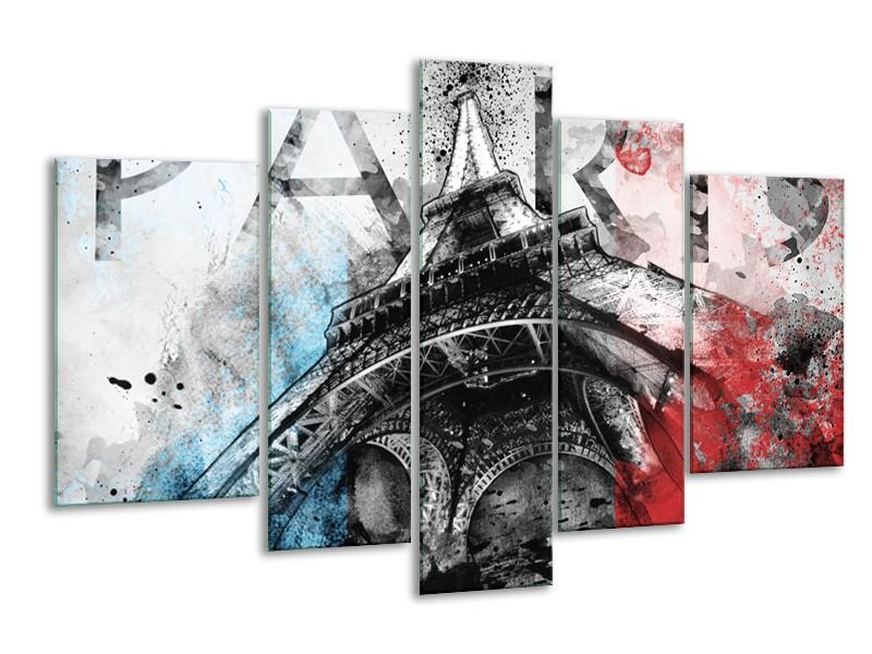 Glasschilderij Parijs, Eiffeltoren | Blauw, Rood, Zwart | 170x100cm 5Luik