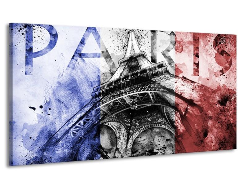 Canvas Schilderij Parijs, Eiffeltoren | Blauw, Rood, Zwart | 170x90cm 1Luik