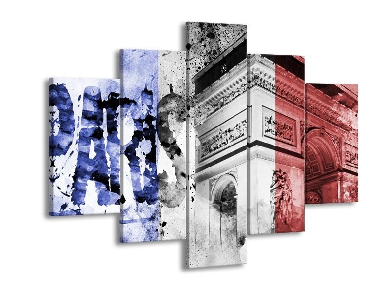 Glasschilderij Parijs, Steden | Blauw, Rood, Zwart | 150x105cm 5Luik