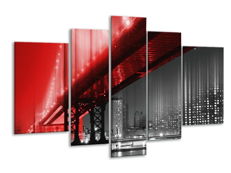 Glasschilderij Steden, Brug | Zwart, Wit, Rood | 170x100cm 5Luik