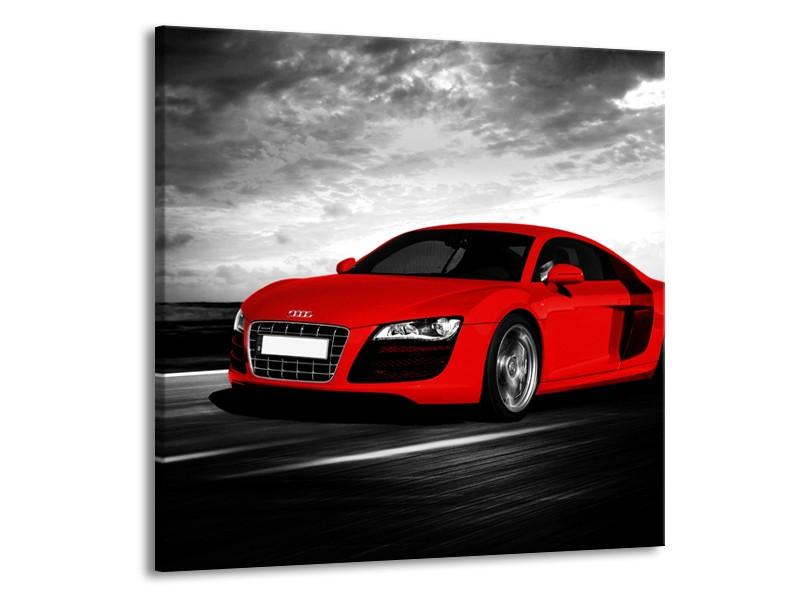 Canvas Schilderij Audi, Auto | Zwart, Grijs, Rood | 70x70cm 1Luik