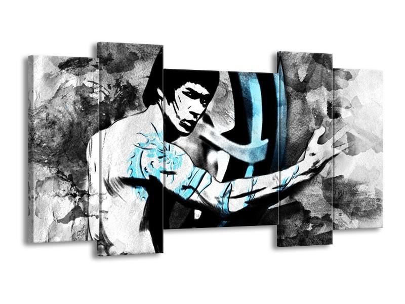 Canvas Schilderij Sport, Man | Grijs, Zwart, Blauw | 120x65cm 5Luik