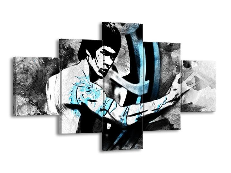Canvas Schilderij Sport, Man   Grijs, Zwart, Blauw   125x70cm 5Luik