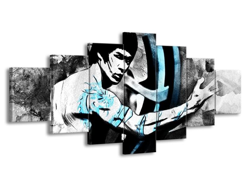 Glasschilderij Sport, Man   Grijs, Zwart, Blauw   210x100cm 7Luik