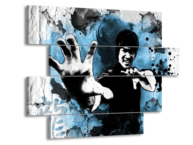 Canvas Schilderij Sport, Man | Grijs, Zwart, Blauw | 115x85cm 4Luik