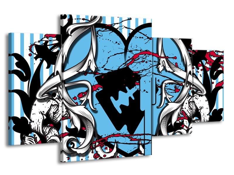 Canvas Schilderij Popart, Hart | Grijs, Zwart, Blauw | 160x90cm 4Luik