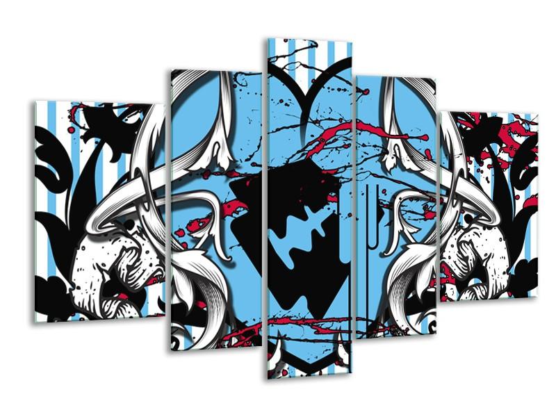 Canvas Schilderij Popart, Hart | Grijs, Zwart, Blauw | 170x100cm 5Luik