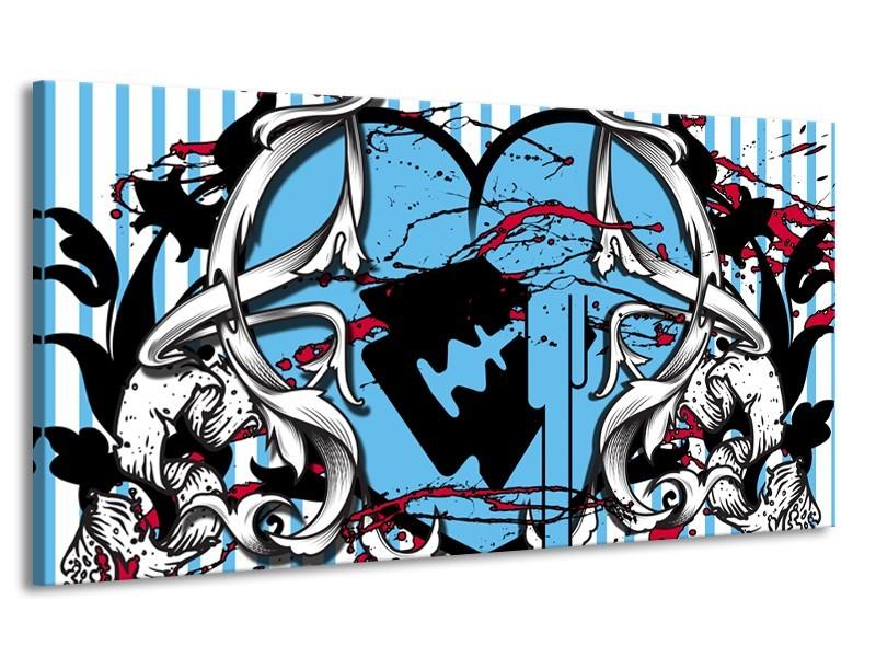 Canvas Schilderij Popart, Hart | Grijs, Zwart, Blauw | 170x90cm 1Luik