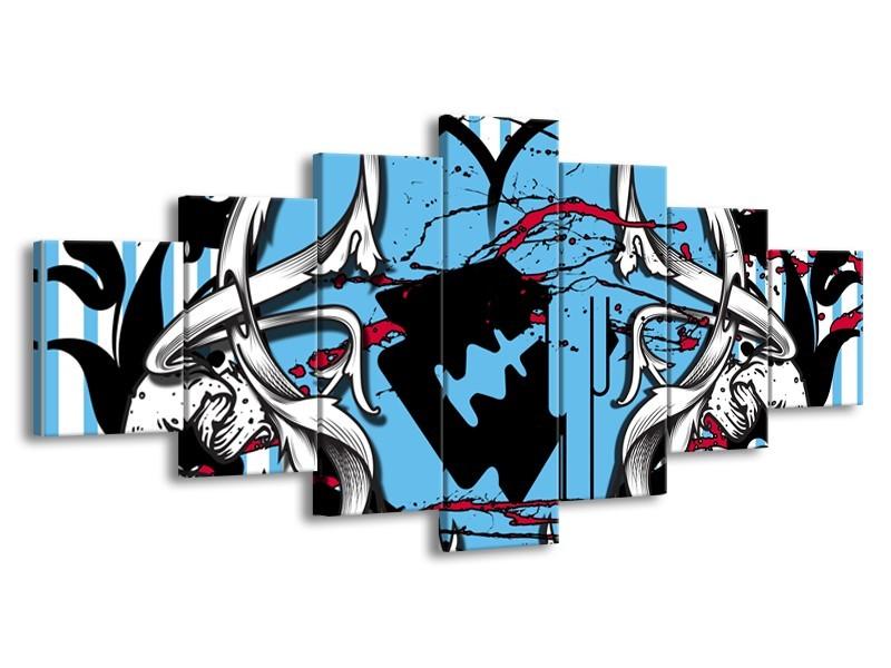 Canvas Schilderij Popart, Hart | Grijs, Zwart, Blauw | 210x100cm 7Luik