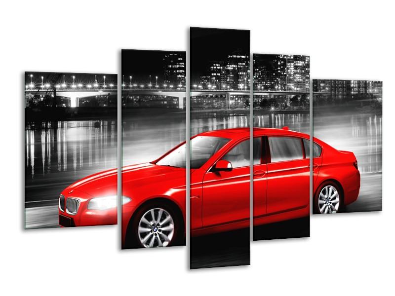 Glasschilderij Auto, BMW   Rood, Zwart, Grijs   170x100cm 5Luik