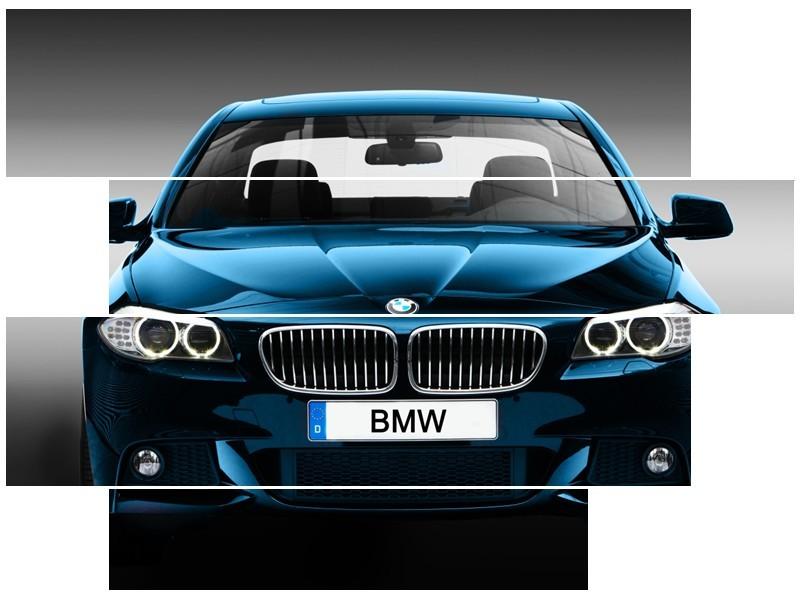 Canvas Schilderij Auto, BMW | Blauw, Zwart, Grijs | 115x85cm 4Luik