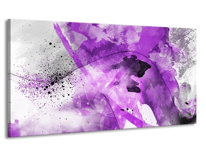 Canvas Schilderij Vrouw, Kunst | Paars, Grijs, Wit | 170x90cm 1Luik