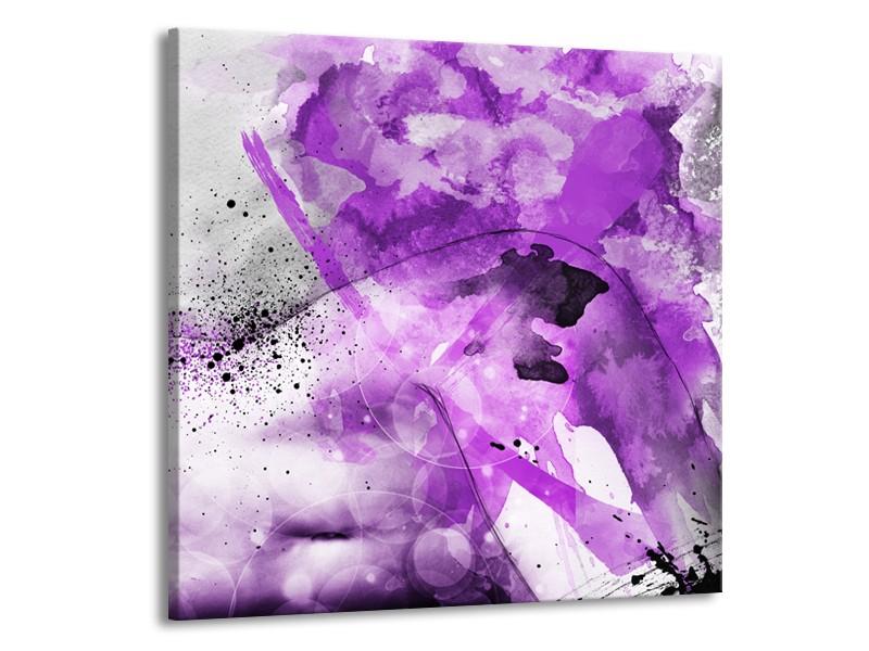 Canvas Schilderij Vrouw, Kunst | Paars, Grijs, Wit | 70x70cm 1Luik