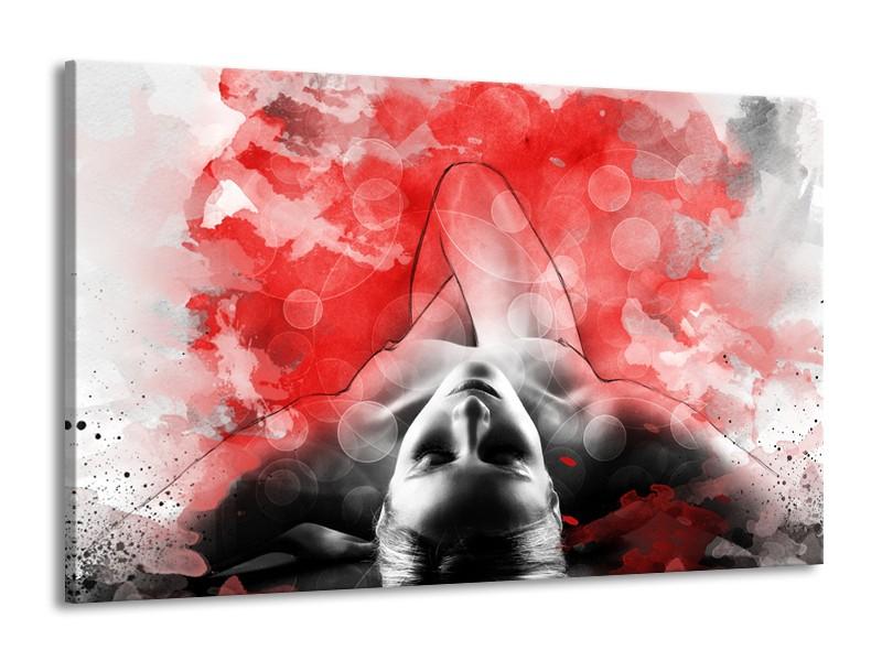 Canvas Schilderij Vrouw, Kunst | Rood, Grijs, Wit | 140x90cm 1Luik