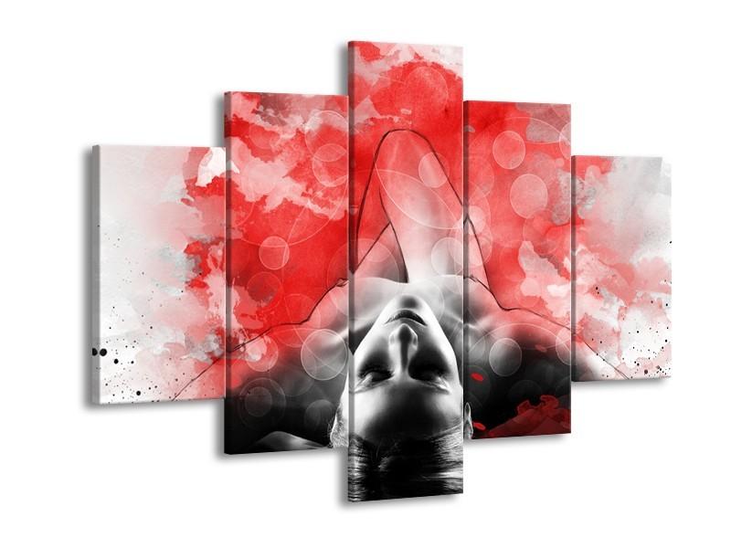 Canvas Schilderij Vrouw, Kunst | Rood, Grijs, Wit | 150x105cm 5Luik