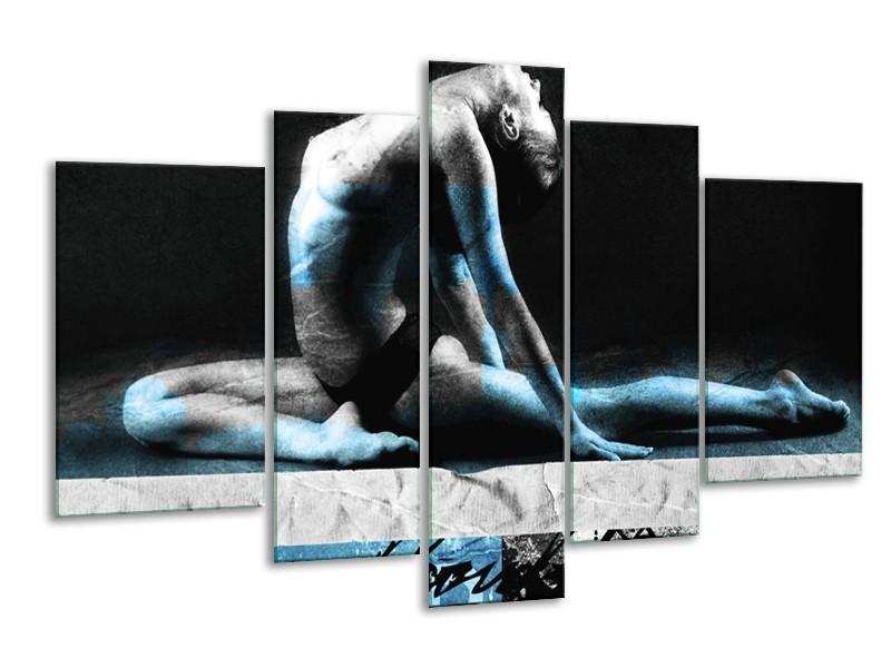 Canvas Schilderij Vrouw, Kunst | Zwart, Blauw, Grijs | 170x100cm 5Luik