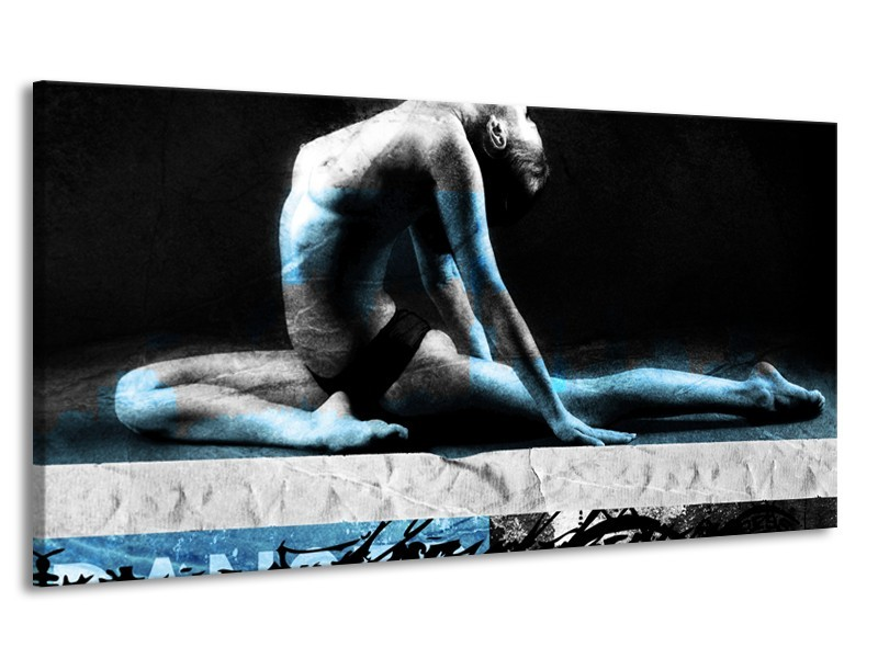 Canvas Schilderij Vrouw, Kunst | Zwart, Blauw, Grijs | 170x90cm 1Luik