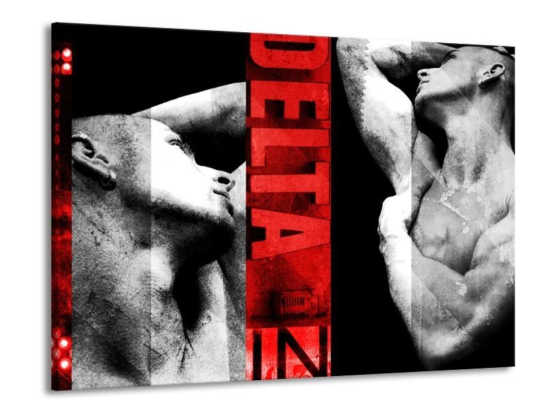 Canvas Schilderij Man, Kunst | Rood, Zwart, Grijs | 100x70cm 1Luik