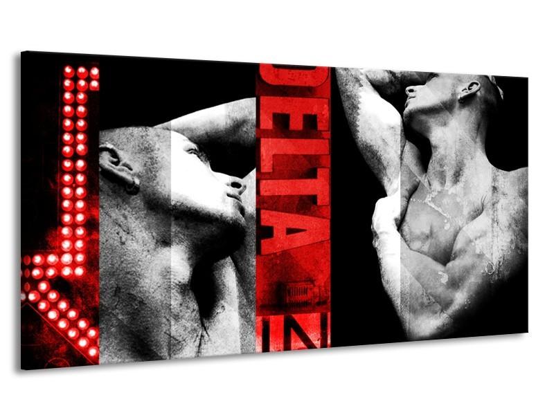 Canvas Schilderij Man, Kunst | Rood, Zwart, Grijs | 170x90cm 1Luik