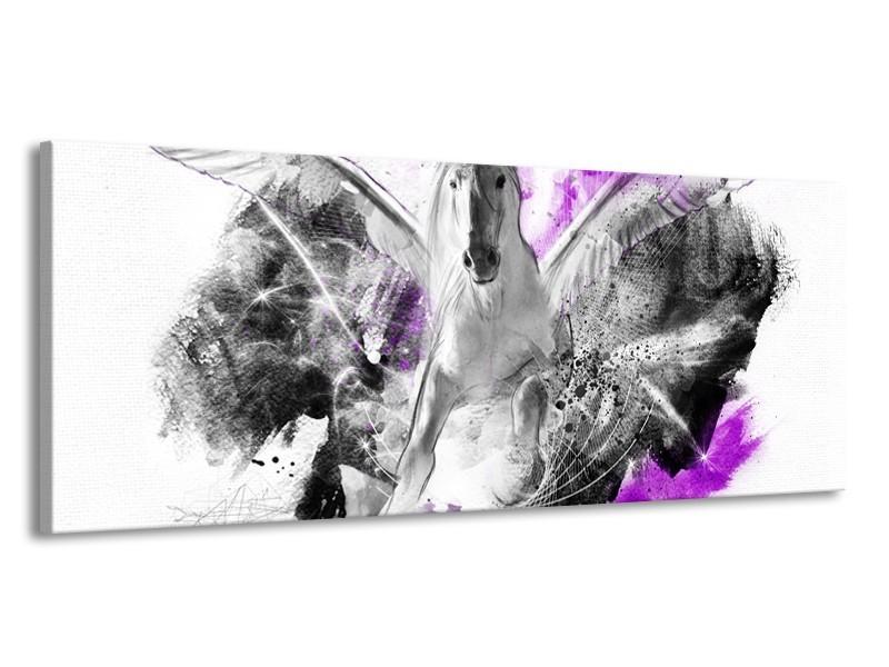 Canvas Schilderij Paard, Abstract | Paars, Grijs, Wit | 145x58cm 1Luik