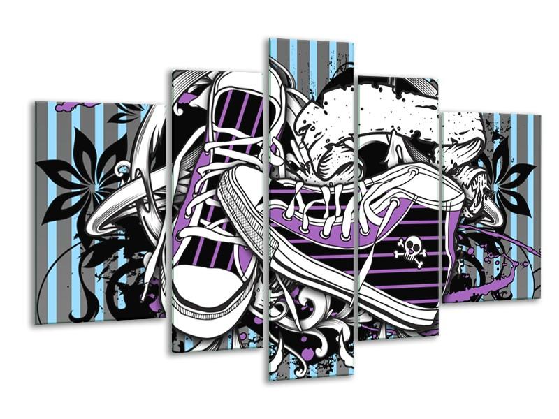Glasschilderij Popart, Schoenen | Grijs, Paars, Wit | 170x100cm 5Luik