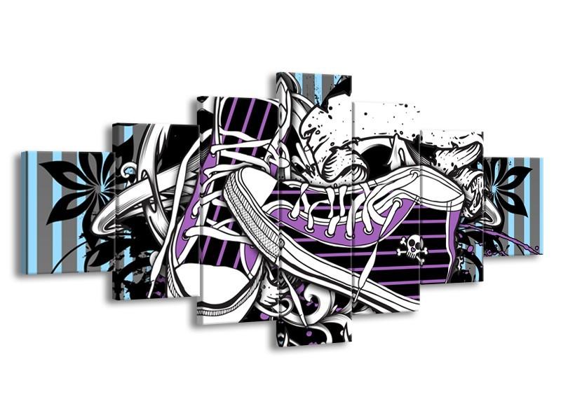 Canvas Schilderij Popart, Schoenen | Grijs, Paars, Wit | 210x100cm 7Luik