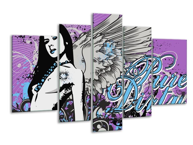 Canvas Schilderij Vrouw, Popart | Paars, Grijs, Blauw | 170x100cm 5Luik