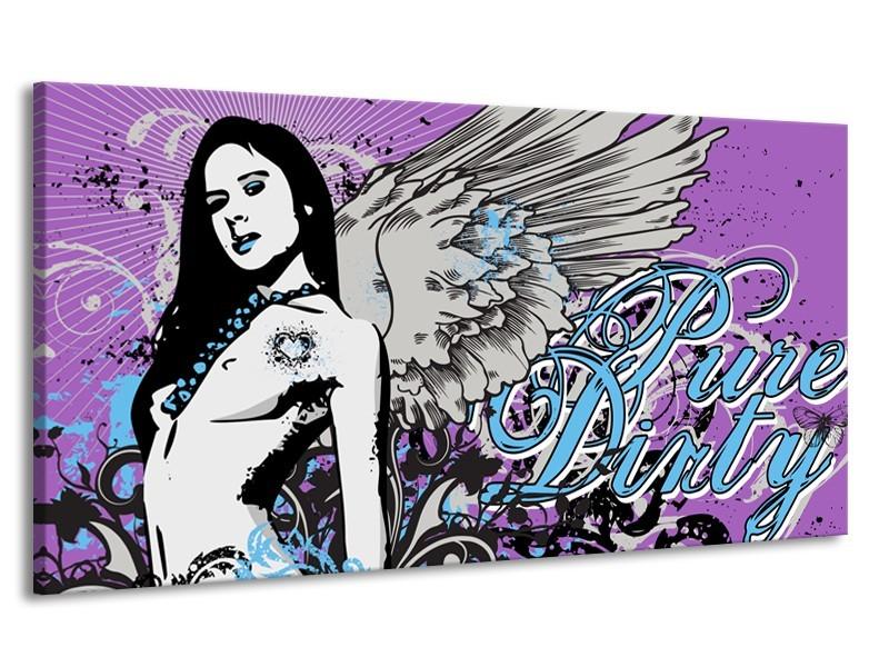 Canvas Schilderij Vrouw, Popart | Paars, Grijs, Blauw | 170x90cm 1Luik