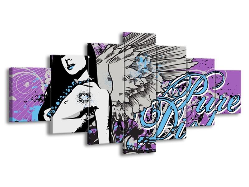 Canvas Schilderij Vrouw, Popart | Paars, Grijs, Blauw | 210x100cm 7Luik