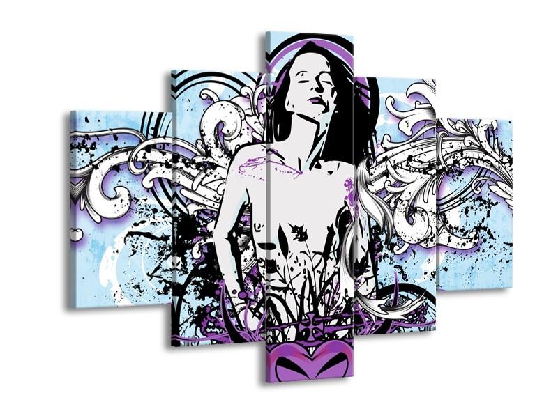 Glasschilderij Vrouw, Popart | Blauw, Paars, Wit | 150x105cm 5Luik