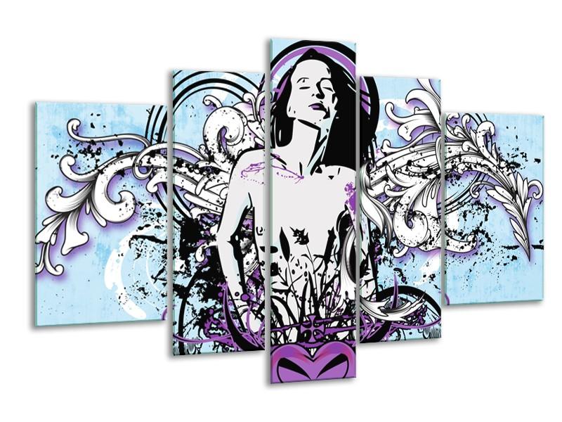 Canvas Schilderij Vrouw, Popart | Blauw, Paars, Wit | 170x100cm 5Luik