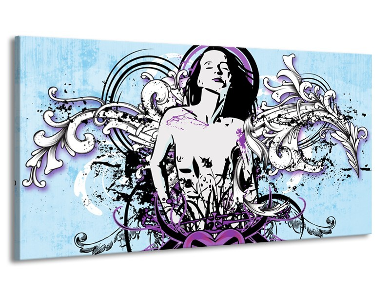 Canvas Schilderij Vrouw, Popart | Blauw, Paars, Wit | 170x90cm 1Luik