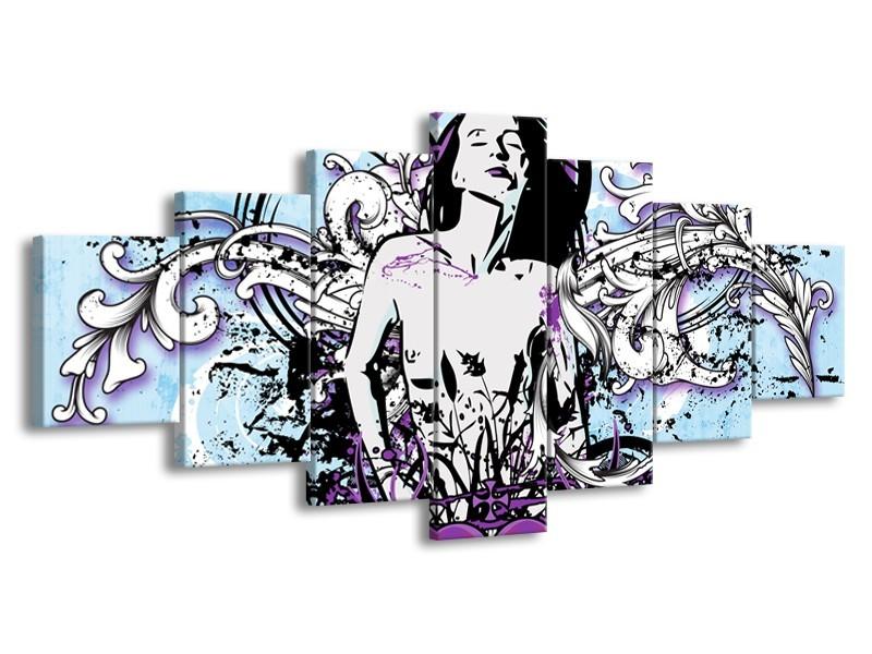Canvas Schilderij Vrouw, Popart | Blauw, Paars, Wit | 210x100cm 7Luik
