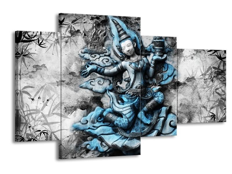 Glasschilderij Boeddha, Beeld   Blauw, Grijs, Zwart   120x75cm 4Luik