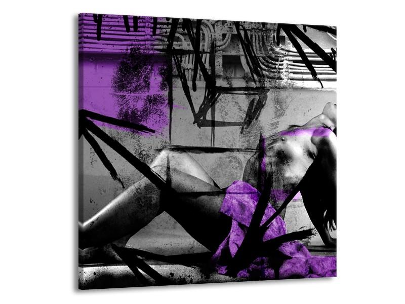 Canvas Schilderij Vrouw, Kunst | Paars, Grijs, Zwart | 50x50cm 1Luik