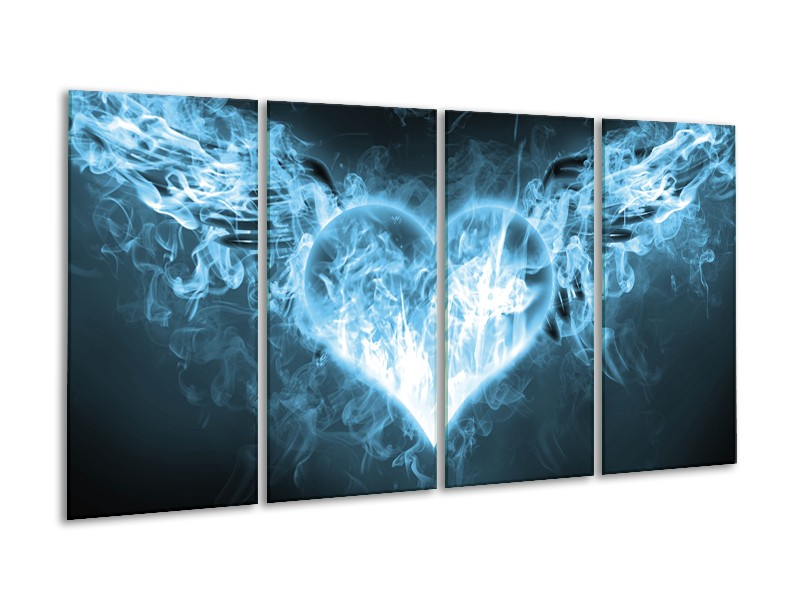 Canvas Schilderij Hart, Vuur   Blauw, Wit   160x80cm 4Luik