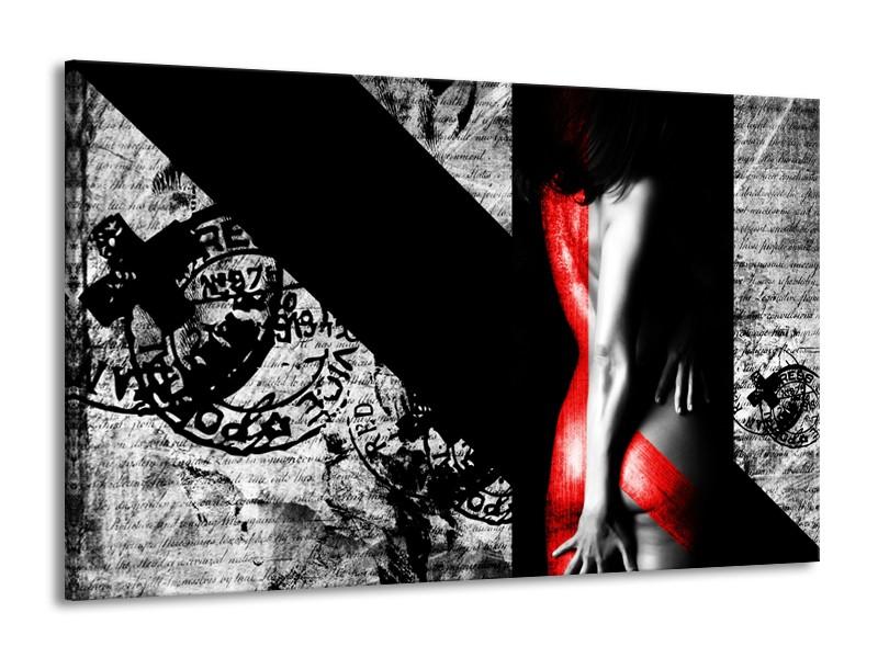 Canvas Schilderij Vrouw, Kunst | Rood, Zwart, Grijs | 140x90cm 1Luik