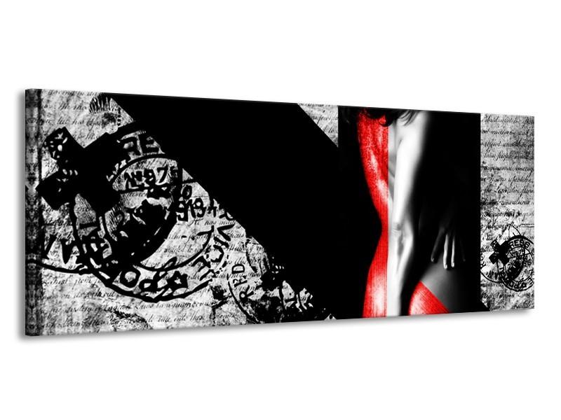 Canvas Schilderij Vrouw, Kunst | Rood, Zwart, Grijs | 145x58cm 1Luik